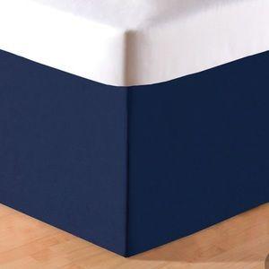 Plain Navy Bed Skirt Size Queen